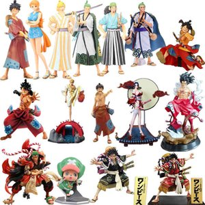 Yutong One Piece The NashLine Men Luffy Roronoa Zoro Vinsmoke Sanji Trafalgar Nami Boa Hancock Terra di Wano Country Ver. Figura d'azione