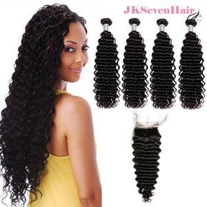 A onda profunda não processada Virgem Brasileira de cabelo humano Bundles 4pcs com 4x4 polegadas Fechamento de renda Real Indian Peruano Malaysian Weaves WeFts