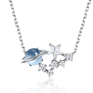 Beautiful Starchenie Universe Saturn Star Planet Necklace Ins 925 Silver Jewelry Nautral Blue Topaz Gemstone For Women Gift