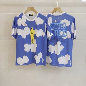 Мужские женские хлопковые футболки Chic Streetwear Travis Scott Cousssuit от Astroworld Pat Top White дизайнерская одежда