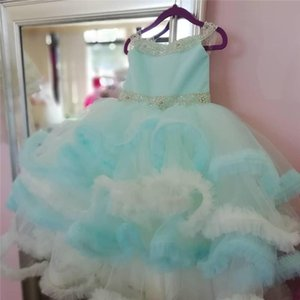 Real Picture Customized Sky Blue Puffy Formal Flower Girls Dresses For Wedding Cloud Beads Children Party Pageant Birthday Gown Girl's