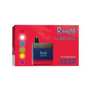 Original RandM Dazzle King 3000 Puffs E Cigarette Disposable Pod Device Starter Kit Vape Pen with Code