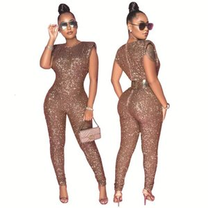 Sexy Sequin Sleeveless Long Jumpsuit Plus Size Rompers S-4XL One Piece Outfit Women Club Outfits Night Party Wear Ladies Clothes