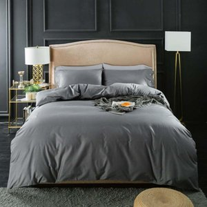 Luxury Bedding Set Cotton Bed Line Family Simple Duvet Cover Solid Color Bedspread Twin Queen King Size 2 3Pcs Sets