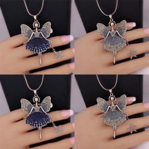 Statement Neclaces Sweater Chain Pendant Enamel Jewelry Maxi Neclace Alloy Enamel Dance Girl Fairy Angel Necklace 10 N2