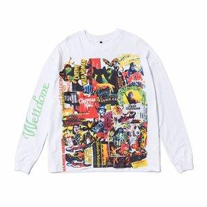 T-shirt américain Loam High T-shirt Street Street Hip Hop Peinture Couloir imprimé Col à col rond Tee-Tee Hommes et femmes