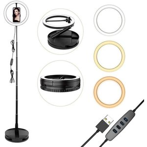 """10"""" Selfie Ring Light Easy Setup Portable Folding Dimmable Fill With Phone Clip 3 Modes 10 Brightness Level Flash Heads"""