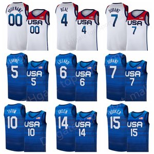 US Basketball Jersey Summer Olympics 7 Blue Kevin Durant 15 Devin Booker 6 Damian Lillard 10 Jayson Tatum Zach LaVine Bradley Beal USA