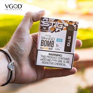 Otantik VGOD STIG Tek Kullanımlık Pod Kit Elektronik Sigara Cihazı 3 adet / paket 270mAh Tamamen Ücretli 1.2ml Kartuş Vape Kalem