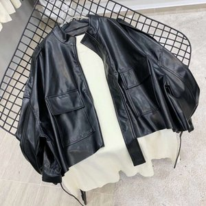Black locomotive cool PU leather jacket women's autumn 2020 new Korean loose and versatile straight tube fashion