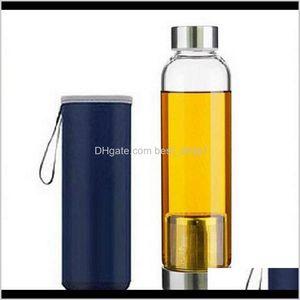 Bottles 22Oz Bpa High Temperature Resistant Glass Sport Water With Tea Filter Infuser Bottle Nylon Sleeve 8Vlnw Dlbiv