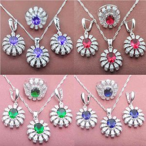 Pretty Wedding Women's Jewelry Sets Silver Color Purple Zirconia Ring Necklace And Earrings Set TZ088