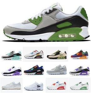 90 OG Mens 러닝 신발 AIR90 Worldwide White Blue Hyper Turquoise Sneaker Designer 클래식 90S 형제가 되십시오 Maxes 적외선 검은 Viotech 멀티 조깅 트레이너 90 #