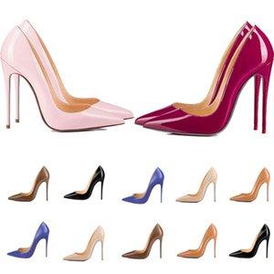 Mulheres Vermelhas Bottom Alto Salto Pointed dedos Luxurys Designers Sapatos Genuínos Bombas de Couro de Patente Senhora Senhora Sandálias