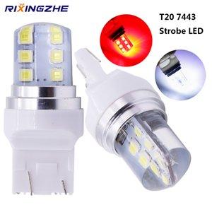스트로브 LED T20 7443 W21 / 5W 플래시 LED 2835 12SMD LED 자동차 플래시 브레이크 전구 조명 레드 화이트 12V Wholsale