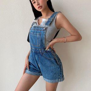 jeans for women Europe American Short Suspender Pants Women's Summer Age-reducing Casual High Waist Slimming Curling N848