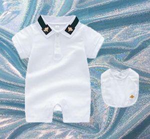 2021 Designer Children Clothing Onesies 2pcs Set Romper Bib Kids Clothes Infant Outfits baby Boys Girls Toddler short Sleeve Jumpsuit