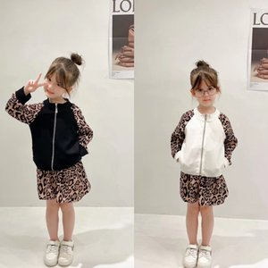 Designer Kids leopard sport sets 2021 autumn children zipper long sleeve jacket+casual pants skirts 2pcs luxury boys girls leisure outfits A7869