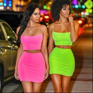 Festival 2 Piece Women Tracksuits Set Crop Top Skirt Neon Club Outfits Summer Streetwear Sleeveless Sexy Two