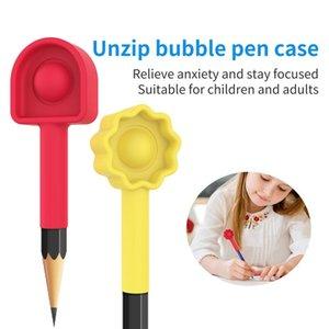 Pen Case Fidget Toy Pencil Extender Party Favor Silicone Soft Stress Reliever Dimple Sensory Toys LD61004