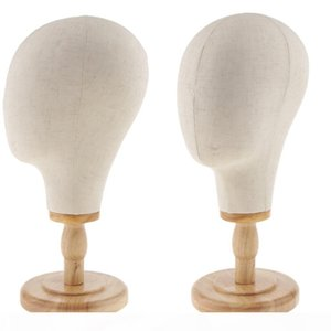 2x 21 inch Hair Wigs Extension Making Hats Caps Display Canvas Cork Block Mannequin Head Model + Detachable Wood Stand