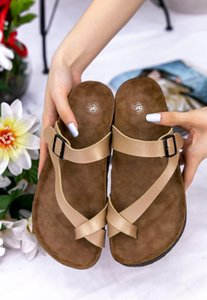 Sultan Brad Leather Slip On Flats Wedge Heel Slippers Gold Walking Slides Female Mules Classic Summer Fashion Sandal Women 2021 Sandals
