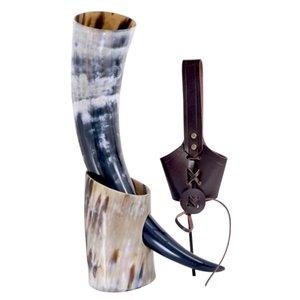 Handicrafts Viking Drinking Horn Cups Ale Beer Wine Goblet Chalice Tankard Ox Horn Beaker Vessels Viking Drinking Mug 210409