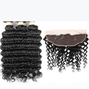 Fairgreat Virgin Human Hair 3 Bundles With 13 x 4 Lace Frontal Deep Wave Weft 100% Human Hair Extensions Natural Color Wholesale price