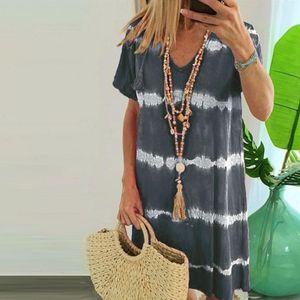 S 3XL Dresses Womens BOHO Casual Striped Tie Dye Print Dress Patchwork Summer V Neck T shirt allentato
