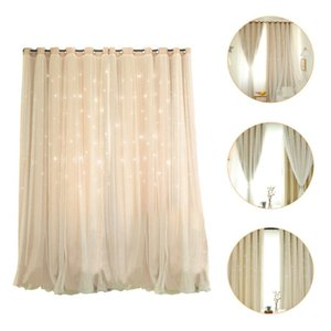 Curtain & Drapes 1Pc Hollow Star Blackout Home Double-layer Window Decor Beige