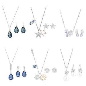 High Quality 1: 1 Original SWA DIY Jewelry Simple Modern Fashion Trend Necklace Earrings Set Romantic Round Diamond Female. Chains