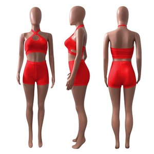 Simple Pure Color O Neck Sleeveless Crop Top And Short 2 Pieces Set Sexy Tight Club Tracksuits Women's