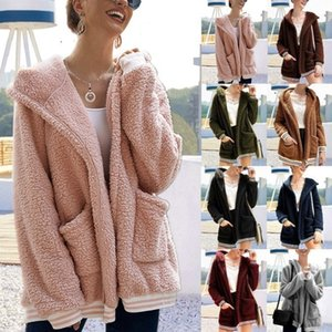 Women Autumn Winter Faux Long Sleeves Cardigan Hooded Keep Warm Coat female solid Jacket fashion 2020 new pocket outwear green