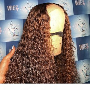 Ombre Brazilian Water Wave Wig For Black Women 150%Density 13x6 Lace Front Wig PrePlucked Brown Lace Closure Wig With Baby Hair