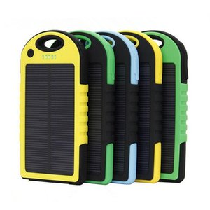 40000 5000 6000mAH Solar Mobile Power with LED Flashlight Camping Lighting Polymer Larger Capacity Smartphone Tablet and Universal Charger Portable Hang Hook