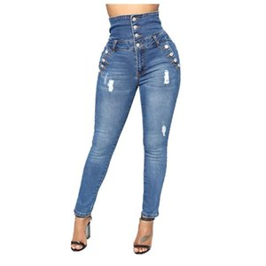 Women High Waisted Buttons Jeans Fashion Fix Sexy Print Ripped Plus Size Trousers Ladies For Four Seasons Pants Women's