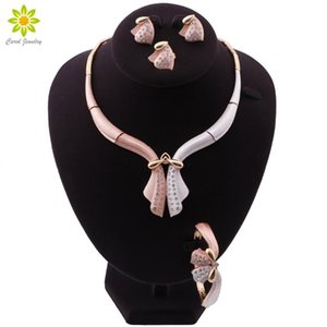 Fashion African Dubai Gold Color Jewelry Nigerian Crystal Necklace Earrings Women Italian Bridal Set Wedding Accessories &