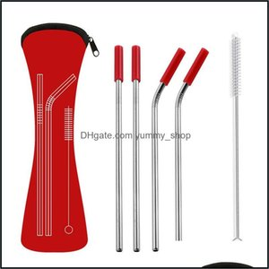 Barware Kitchen, Dining Home & Garden6Pcs Set Reusable Stainless Steel Straight Bent Drinking Sts With Sile Tips For Cold Beverage Drink Bar