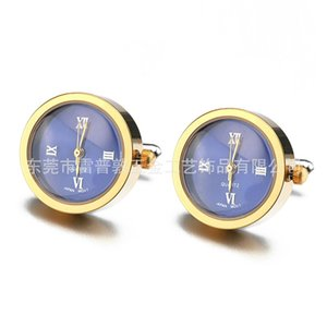 Bateria digital relógio abotoaduras para homens Lepton Real Clock Cufflinks Assista Cuff Links for Mens Jewelry Relosjes Gemelos 201124 873 R2