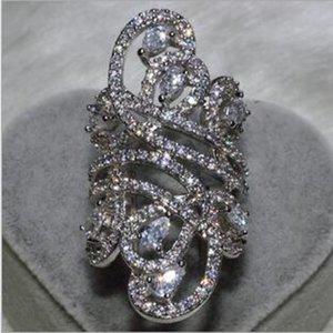 Victoria WIEeck Luxus Breite Schmuck 925 Sterling Silber Weiß Topaz Simulierte Diamant Edelsteine CZ Blume LZ1257