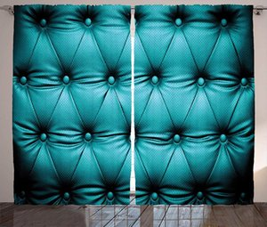Curtain & Drapes Turquoise Curtains Buttoned Couch Sofa Bed Headboard Leather Cover Furniture Upholstery Artwork Print Window