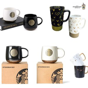 414ml Starbucks Cup Pottery Mug Starbucks's Classic Couple European Coffee Cups Ceramic Vintage Style With Pacakge Box for Boyfriend Grilfriend Birthday Gifts