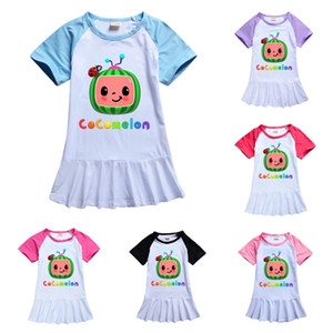 Cocomelon Girls Long T-shirt Dress Sleep Wear Summer Toddler Girls Dresses Cartoon Girl Clothes Boutique Milk Silk Skirt Tee Birthday Dress Kids Costume G49N657