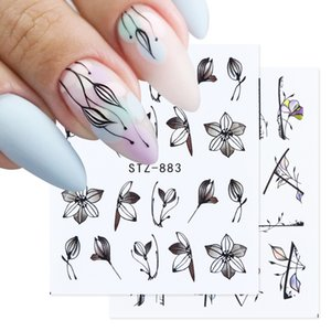 PerfectionsBlack Flower Sliders Tattoo Nail Sticker Set Leaf Mandala Floral Design Manicure Decoration for Water Nail Decals GLSTZ880-891