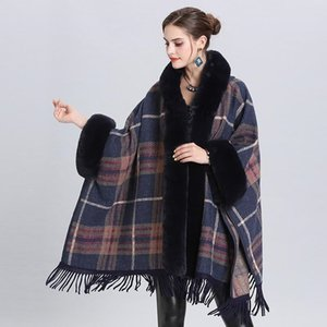 Winter keep warm ladies coat cape shawl coat mid-length with faux fur plaid knitted fringed V-Neck Panelled wool cashmere cardigan cloak jac