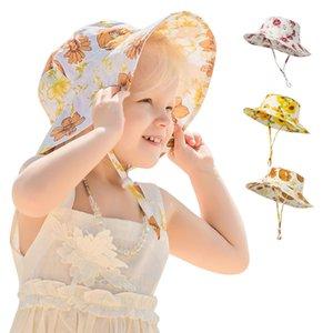 Sunflower Beach Fisherman Hat Children Hip Hop Wide Brim Summer Printing Sunhat Unisex Outdoor Travel Casual Cap Foldable Bucket Hats For Bo