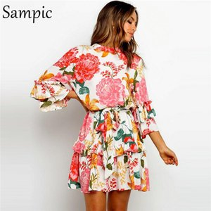 Casual Dresses Sampic Fashion O Neck Woman Bohemia Floral Printed Long Sleeve Dress Sundress Short Bandage Beach