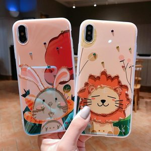 Cartoon lions and rabbits pattern electroplate TPU phone cases for iPhone 12 11 Pro X Xr Xs Max Mini 7 8 Plus SE