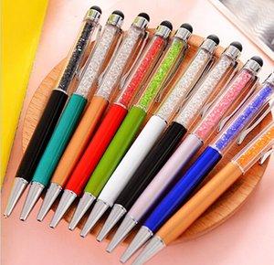 Мода дизайн творческий хрустальный ручка алмазные шариковые канцелярские балрены стилус сенсорный 20 цветов жирные черные пополнения