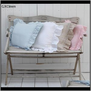 Nature Linen Ruffled Sham Solid Square Couch Cushion Sofa Pillow Covers Decorative Pillowcase With Falbala 2Pcs Case Ejo6K 7A43V